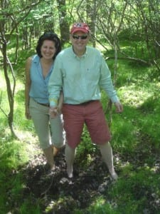 Shelby and Jarvis Cromwell happily exiting the kettle hole bog barefoot on the Neversink Association June 2015 tour. Photo taken by Pat Wellington
